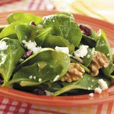 Dijon-Walnut Spinach Salad Recipe Recipe. Might replace walnuts with sliced almonds.