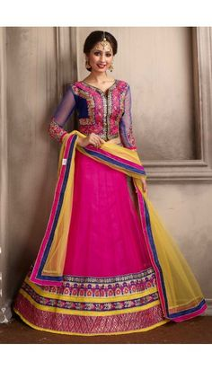 Yellow A Line Embroidered Net Party Wear Lehenga Choli 36778 Lehenga Style, Pink Lehenga, Net Lehenga, Lehenga Choli Online, Ghagra Choli, Wedding Lehenga Online, Indian Wedding Lehenga, Choli Designs, Lehenga Designs