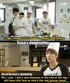 Lol, unless Jin is speaking is speaking to Suga, it's a soliloquy. But, this is hilarius anyway. [Sorry, I'm a English Nerd]