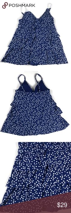 """Jaclyn Smith Tiered Polka Dot Swimdress Sz 16 NWOT Jaclyn Smith Collection  ***New with out tags****  Estimated measurements laying flat  Underarm to underarm 17"""" Top of shoulder to bottom hem 30"""" Jaclyn Smith Collection Swim One Pieces"""