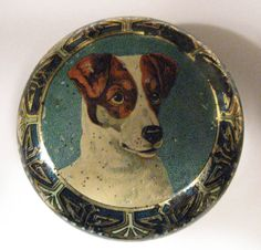 round tin with head of a Jack Russell and stunning art nouveau/art deco border. The tin is in diameter. From bendale collection Vintage Dog, Vintage Tins, Retro Vintage, Vintage Canister Sets, Art Deco Borders, Tin Toys, Metal Tins, Picture Wall, Terrier