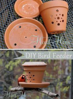 Drill Holes in Pots for a Bird Feeder #gardenideas