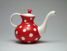 Red and White Teapot Polka dots Modern Design Handmade Fine Art