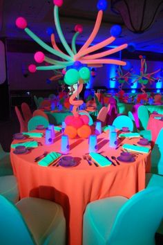 I Love The Colors They Used To Decorate The Tables And The Center Piece Is Super Cute I Love It :)