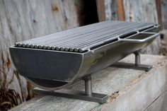 """hibachi grill, known as the """"Hibachinator""""! This grill means business with a x removable grilling surface, and at a whopping 50 lbs. It can hold the heat, and deliver it right to the matter at hand: Grilling a meal. Made of welded steel. Camping Grill, Portable Grill, Metal Projects, Metal Crafts, Diy Projects, Welding Equipment, Metal Fabrication, Outdoor Cooking, Blacksmithing"""