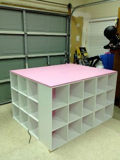 """Measure Once, Cut Twice: DIY: Crafting Desk"""" Or a table to store shoes in a walk in closet."""