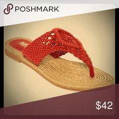 1 HOUR SALE!!!! LAST PAIR - Mia Sandals Size 6 Cute macrame red flip flop. Both dressy and casual. Super soft fabric with lightly padded footed which is extremely comfortable. MIA Shoes Sandals
