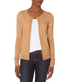 Look at this Camel Lightweight Wool-Blend Cardigan on #zulily today!