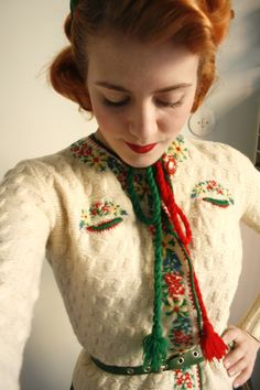 fun photos of 'the yodel cardigan,' found in a Stockholm vintage shop. Simply adorable!