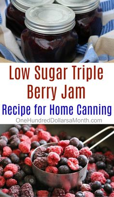 Low Sugar Triple Berry Jam Recipe - One Hundred Dollars A Month - Frozen Fruit Recipes Sugar Free Jam, Low Sugar, Triple Berry Jam Recipe, Recipe Berry, Mixed Berry Jam Recipe With Pectin, Mixed Fruit Jelly Recipe, Jam And Jelly, Jelly Recipes, Drink Recipes