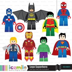 Lego+Superhero+Digital+Clipart+by+IcemiloClipart+on+Etsy,+$4.50
