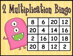 Multiplication BINGO Freebie - 2's facts  *A set of 6 cards ~ including 1 blank card for students to write in their own numbers ~ and a set of 2's multiplication math facts cards.