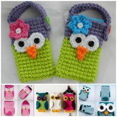 Crochet owl cell phone case free pattern. #diycrafts #crochet #owl