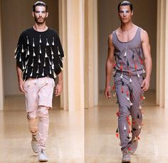 Zazo n Brull 2015 Spring Summer Mens Runway Catwalk Looks - 080 Barcelona Fashion Catalonia Catalan Spain - Plastic Rubber Fingers Necklace Drapery Tribal Native Ethnic Mesh X-Shape Cross Weave Vest Waistcoat Vestcoat 3D Embellishments Tassels Shorts Over Pants Tank Top Perforated Weave Braid Knots Abstract Cropped Sleeves