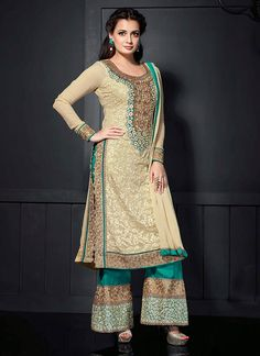 Beige Dia Mirza #Georgette #Palazzo #Suit