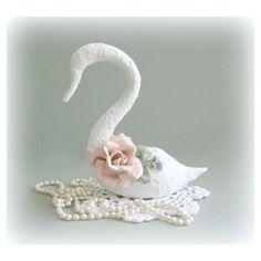 Swan Figurine White Swan Decor Bird Art Bird Figurine Bird Sculpture... (€23) ❤ liked on Polyvore featuring home and home decor