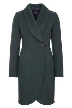 Зимнее пальто на клипсе и кнопках, изумрудный. Арт.356у
