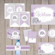 AS IS Instant Download - Purple and Grey Baby Shower Printable Package, Elephant, Girl Baby Shower, Chevron, Polka Dots- 184 - http://www.babyshower-decorations.com/as-is-instant-download-purple-and-grey-baby-shower-printable-package-elephant-girl-baby-shower-chevron-polka-dots-184.html