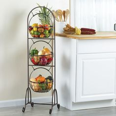 From Gourmet Basics by Mikasa Collection. This 3 Tier Wire Market Basket is a unique product featuring an antique black brushed copper design, adding a modern touch to your decor. This 3 tier basket easily converts from 2 to 3 baskets and is great fo Kitchen Organisation, Diy Kitchen Storage, Kitchen Items, Kitchen Gadgets, Kitchen Dining, Kitchen Decor, Home Gadgets, Tiered Fruit Basket, Hanging Fruit Baskets