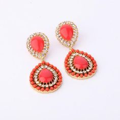 Attractive Light Coral Artificial Gemstone Dangle Earrings