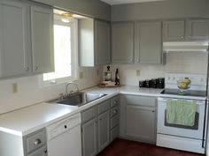 Best Gray Cabinets Green Walls White Appliances Cabinets Are 640 x 480