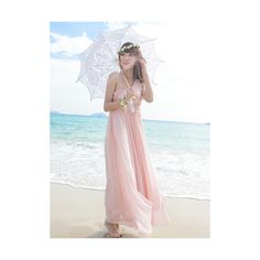 Pink Chiffon One Shoulder Maxi Dress$62.00 ($62) ❤ liked on Polyvore