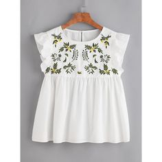 SheIn(sheinside) Flower Embroidered Buttoned Keyhole Ruffle Babydoll... (€13) ❤ liked on Polyvore featuring tops, blouses, t-shirts, tops/outerwear, white, ruffle collar blouse, white ruffle blouse, white embroidered blouse, cap sleeve blouses and ruffle sleeve blouse