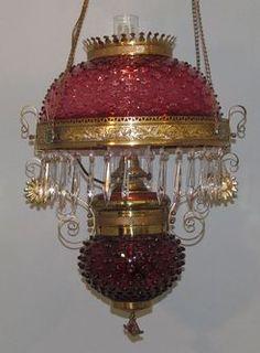 1880 Hanging Lamp; Victorian, Parlor, Cranberry Hobnail Shade & Reservoir, Ornate Brass Frame.