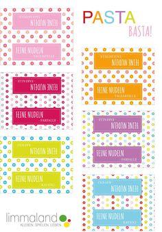 Limmaland Freebie / Free Printable: Nudeln für Kinderküche und Kaufladen. DIY for kids: homemade pasta.