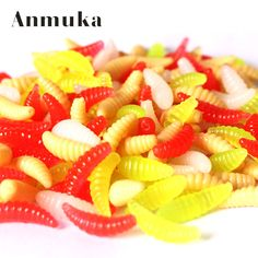 Anmuka 20 pcs 2cm 0.3g maggot Grub Soft Lure Protein Soft Bait Worm Fishing Lures 5 colors for choice