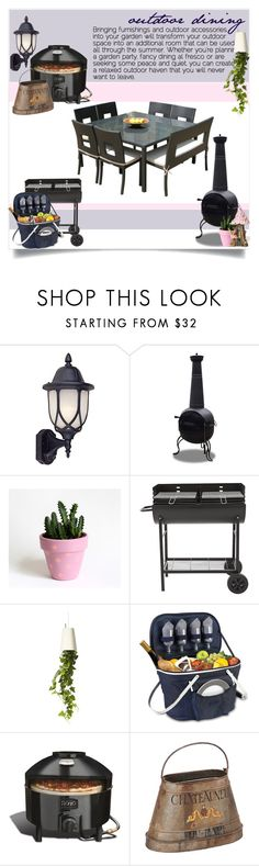 """Outdoor Dining"" by captainsilly ❤ liked on Polyvore featuring interior, interiors, interior design, home, home decor, interior decorating, Designers Fountain, Corvus, Top Collection and Boskke"