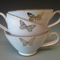 cups with golden butterflies www. Saga, Butterflies, Tea Cups, Pottery, Ceramics, Coffee, Tableware, Home, Ceramica