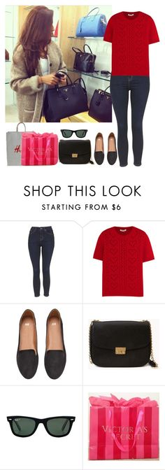 """Shopping with my sisters"" by kenyaballeza ❤ liked on Polyvore featuring Topshop, Miu Miu, H&M, Forever 21, Ray-Ban and Victoria's Secret"