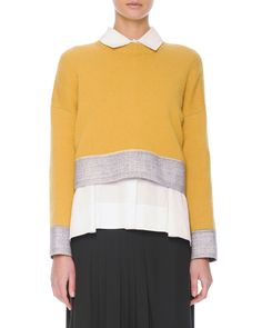 Felt-Trim Button-Back Knit Cropped Sweater, Yellow - Marni