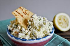 creamy feta dip with jalapenos. 1/2 the recipe unless you're having a party.