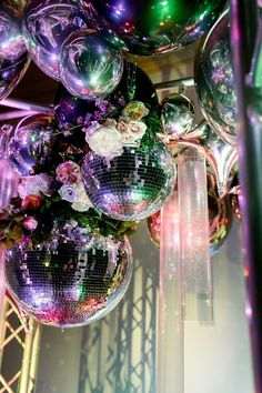 The 2020 Wedding Decor Trends You're About to See Everywhere - Disco balls {Theresa Elizabeth Photography} Wedding Reception Decorations, Wedding Themes, Our Wedding, Dream Wedding, Disco Party Decorations, Wedding Ideas, Wedding Rustic, Wedding Poses, Wedding Pictures