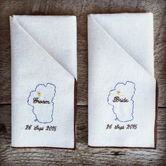 Wedding table decor, personalized napkins for the bride and groom. Here for a Lake Tahoe wedding.  See more personalized wedding gifts; cloth napkins, towels and decorative pillows on my website.