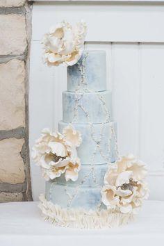 Blue Pearl Wedding Cake