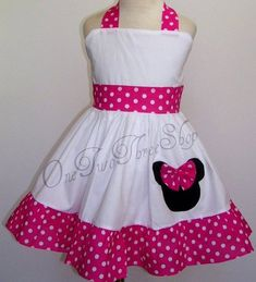 Items similar to Custom Boutique Clothing Minnie Mouse Small hot pink Sassy girl Dress on Etsy Newborn Girl Dresses, Little Girl Dresses, Baby Dress, Girls Dresses, Minnie Mouse, Girls Christmas Dresses, Sassy Girl, Kids Frocks, Frock Design