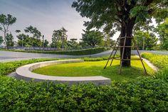 Modern Landscape Design, Modern Garden Design, Modern Landscaping, Landscaping Plants, Landscape Architecture, Plaza Design, Curve Design, Rooftop Garden, Nara
