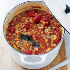 The earthy flavor of the lentils is set off by the tartness of the tomatoes and a spoonful of wine vinegar, which is stirred in just before serving the soup.