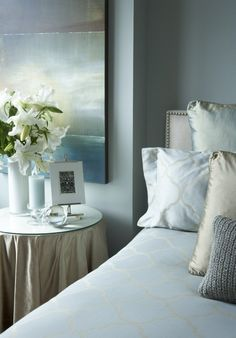 Benjamin Moore Tranquility    Suzie: HGTV - Patrick - Serene bedroom design with blue green walls paint color, silk skirted ...