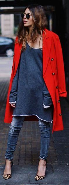 Blue Basic Oversized Tee Dress, Orange sweater and cheetah print heels. by MAJA WYH