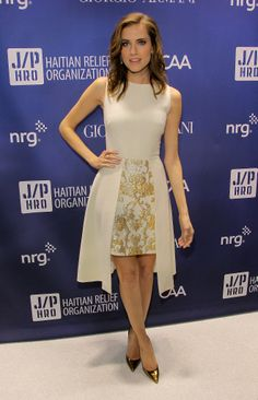 Allison Williams wore a cream-colored frock at the Help Haiti Home fundraiser.