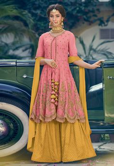 6b4dc7cd35 Buy Pink Georgette Embroidered Sharara Style Suit 174960 online at lowest  price from huge collection of