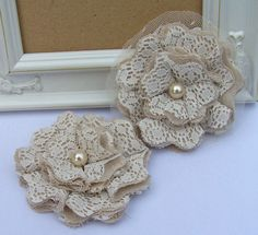 Lace Shabby Chic Fabric Flowers Set of 2  by curtseyboutique, $7.00