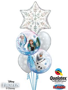 The icy elegance of this bouquet of balloons will make girls giddy! A unique clear Bubble Balloon® featuring Elsa, Anna, and Olaf* is paired with Diamond Clear latex balloons and a silver Holographic snowflake Microfoil balloon.*Disney licensed product, other items not Disney licensed product ©Disney #disney #frozen #qualatex #balloon