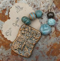 Earthy Pond / Ceramic Dragonfly Pendant and Bead Set by gaea, $24.50