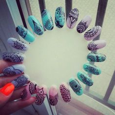 Diy Nails, Cute Nails, Pretty Nails, Perfect Nails, Gorgeous Nails, Mandala Nails, Soft Nails, Manicure Y Pedicure, Flower Nails