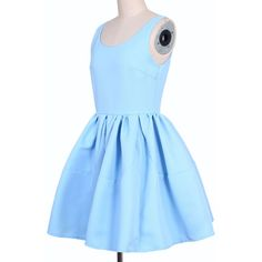 Pleated Sleeveless Puff Sky-blue skater Dress ❤ liked on Polyvore featuring dresses, blue puffy dresses, blue pleated dress, puffy skater dress, sleeveless pleated dress and puffy dresses